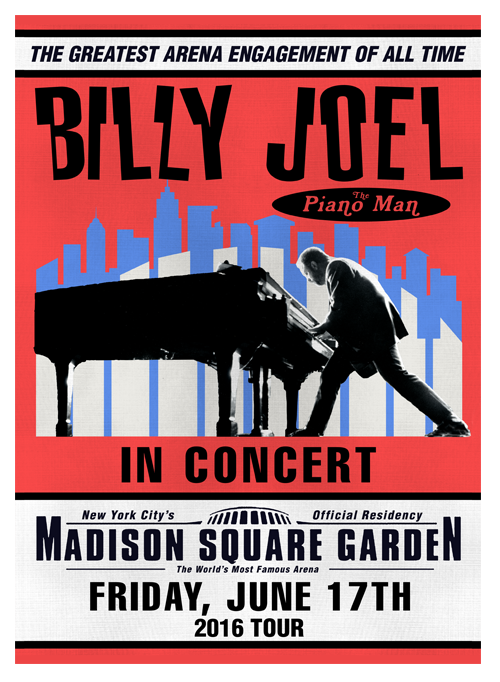 Billy Joel Official Online Store Madison Square Garden Show Poster For June 17th 2016